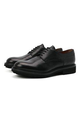 Мужские кожаные дерби DOUCAL'S черного цвета, арт. DU10080TTAUF188NN00 | Фото 1 (Материал внутренний: Натуральная кожа; Стили: Классический)