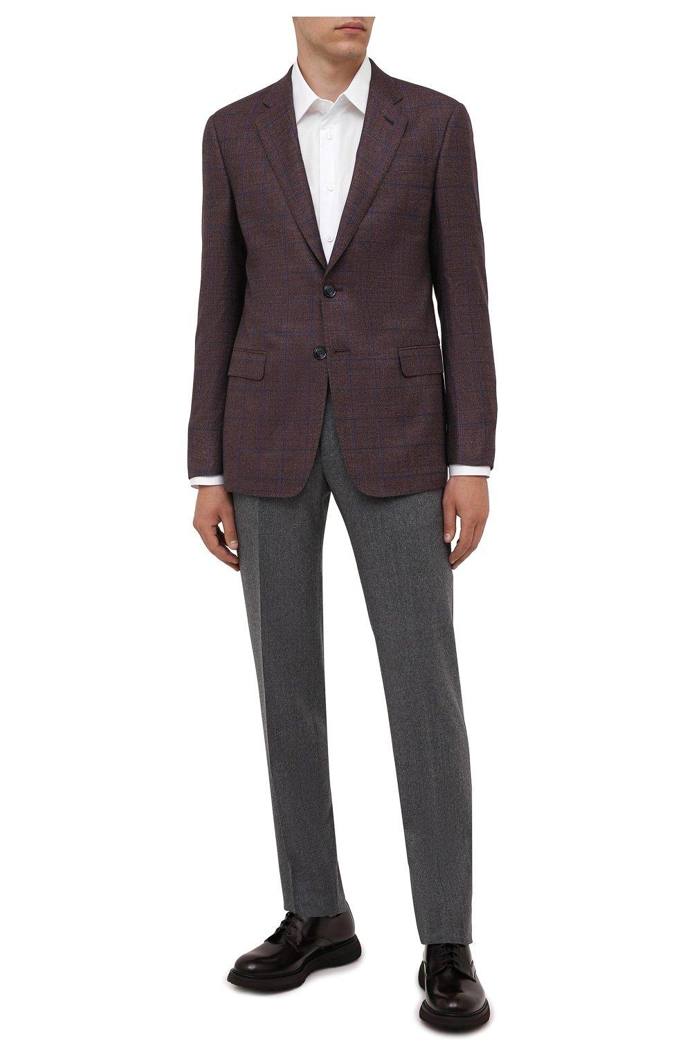 Мужские кожаные дерби DOUCAL'S бордового цвета, арт. DU2514ST0CUT007TL01 | Фото 2 (Стили: Классический; Материал внутренний: Текстиль)
