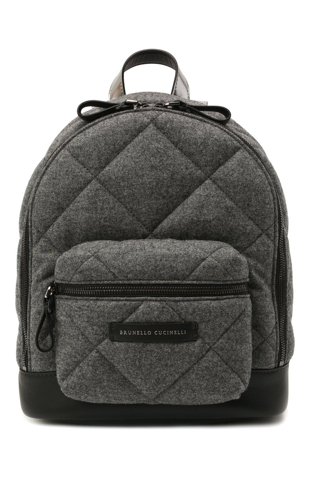 Детская шерстяной рюкзак BRUNELLO CUCINELLI серого цвета, арт. BT38PB022 | Фото 1 (Материал: Текстиль)