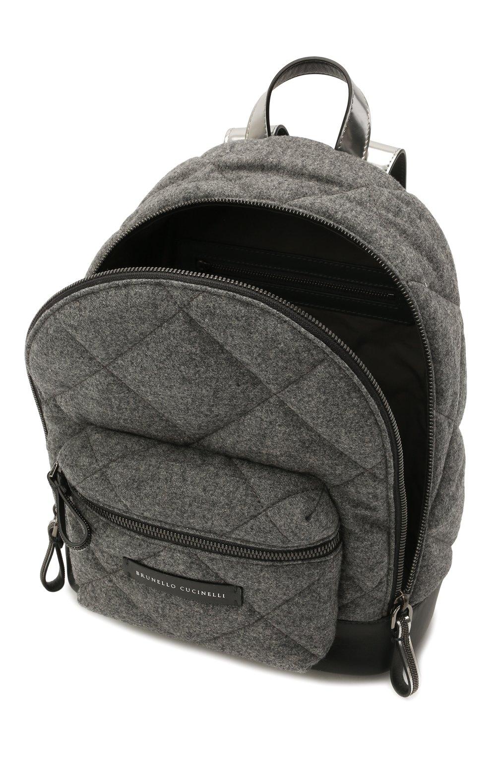 Детская шерстяной рюкзак BRUNELLO CUCINELLI серого цвета, арт. BT38PB022 | Фото 3 (Материал: Текстиль)