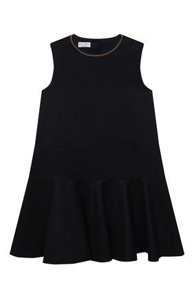 Детское шерстяное платье BRUNELLO CUCINELLI темно-синего цвета, арт. BB034A265B | Фото 1
