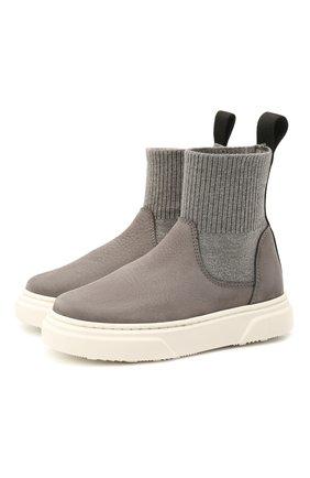 Детские кожаные ботинки MONTELPARE TRADITION серого цвета, арт. MT18301/M0RBID0NE/T0MAIA/18-27 | Фото 1