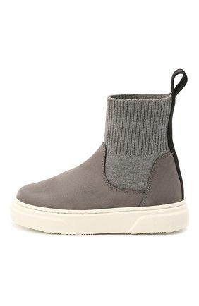 Детские кожаные ботинки MONTELPARE TRADITION серого цвета, арт. MT18301/M0RBID0NE/T0MAIA/18-27 | Фото 2