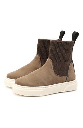 Детские кожаные ботинки MONTELPARE TRADITION коричневого цвета, арт. MT18301/M0RBID0NE/T0MAIA/M0NT0NE/18-27 | Фото 1