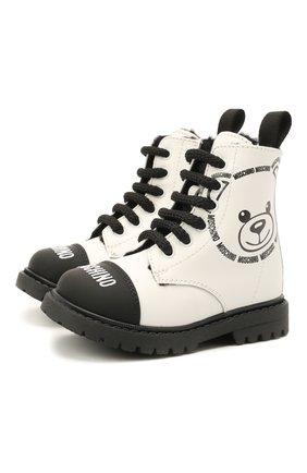 Детские кожаные ботинки MOSCHINO черно-белого цвета, арт. 68790/GUM/BRUN0/GUM/18-27   Фото 1 (Материал утеплителя: Натуральный мех)