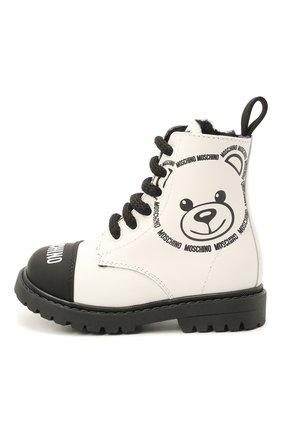 Детские кожаные ботинки MOSCHINO черно-белого цвета, арт. 68790/GUM/BRUN0/GUM/18-27   Фото 2 (Материал утеплителя: Натуральный мех)