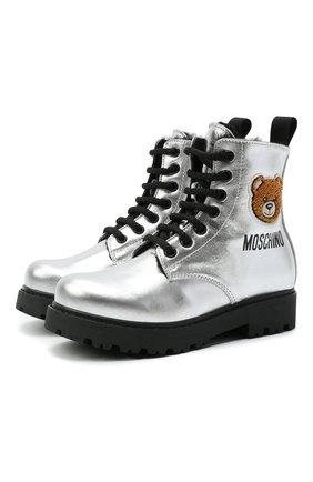 Детские кожаные ботинки MOSCHINO серебряного цвета, арт. 68927/LAMINAT0/28-35   Фото 1 (Материал утеплителя: Натуральный мех)
