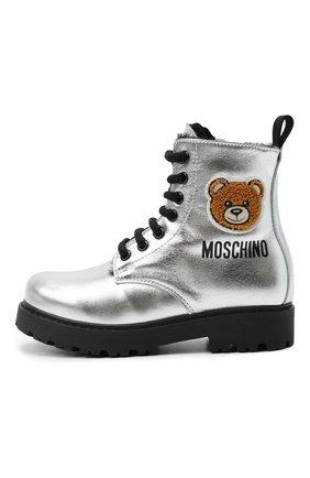 Детские кожаные ботинки MOSCHINO серебряного цвета, арт. 68927/LAMINAT0/28-35   Фото 2 (Материал утеплителя: Натуральный мех)