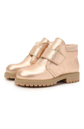 Детские кожаные ботинки GALLUCCI золотого цвета, арт. T00234BM/SC S S G0M ALM/ALM | Фото 1 (Материал утеплителя: Натуральный мех)