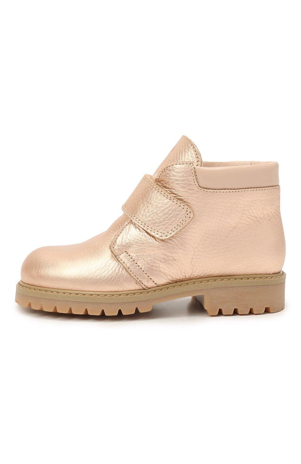 Детские кожаные ботинки GALLUCCI золотого цвета, арт. T00234BM/SC S S G0M ALM/ALM | Фото 2 (Материал утеплителя: Натуральный мех)