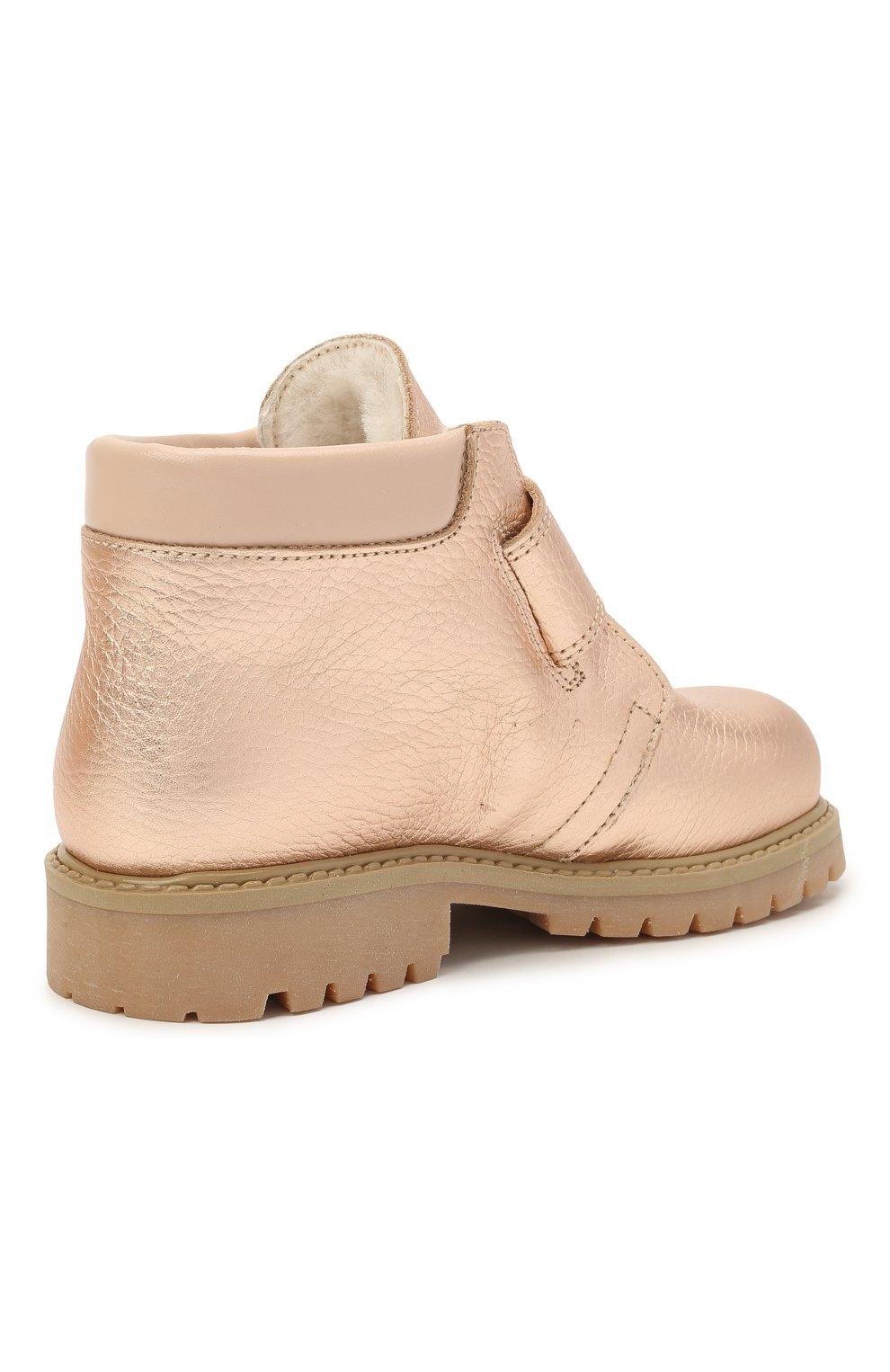Детские кожаные ботинки GALLUCCI золотого цвета, арт. T00234BM/SC S S G0M ALM/ALM | Фото 3 (Материал утеплителя: Натуральный мех)