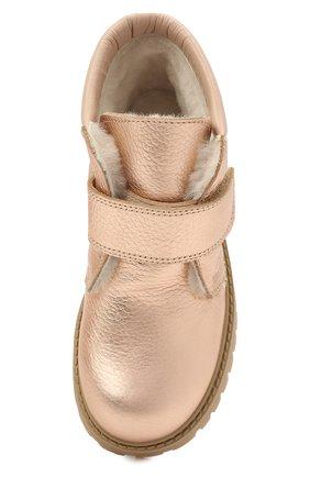 Детские кожаные ботинки GALLUCCI золотого цвета, арт. T00234BM/SC S S G0M ALM/ALM | Фото 4 (Материал утеплителя: Натуральный мех)