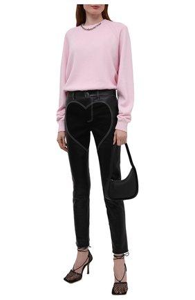Женские кожаные брюки BURBERRY черного цвета, арт. 4568159 | Фото 2