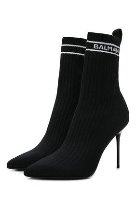 Женские текстильные ботильоны BALMAIN черного цвета, арт. WN1TA641/TSKT   Фото 1