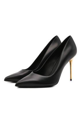 Женские кожаные туфли BALMAIN черного цвета, арт. WN1UA517/LVIT | Фото 1 (Материал внутренний: Натуральная кожа; Подошва: Плоская; Каблук высота: Высокий; Каблук тип: Шпилька)