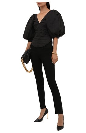 Женские кожаные туфли BALMAIN черного цвета, арт. WN1UA517/LVIT | Фото 2 (Материал внутренний: Натуральная кожа; Подошва: Плоская; Каблук высота: Высокий; Каблук тип: Шпилька)