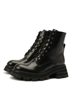 Женские кожаные ботинки ALEXANDER MCQUEEN черного цвета, арт. 666369/WHZ80 | Фото 1