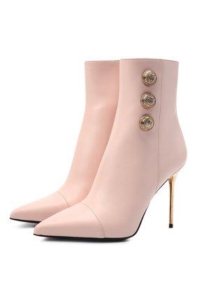 Женские кожаные ботильоны BALMAIN розового цвета, арт. WN1TA522/LVIT | Фото 1 (Материал внутренний: Натуральная кожа; Каблук высота: Высокий; Подошва: Плоская; Каблук тип: Шпилька)