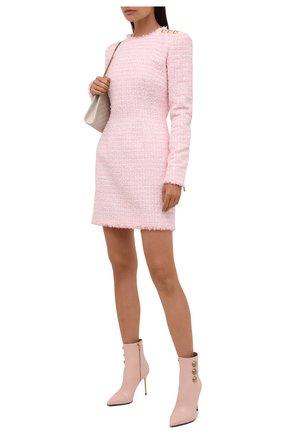 Женские кожаные ботильоны BALMAIN розового цвета, арт. WN1TA522/LVIT | Фото 2 (Материал внутренний: Натуральная кожа; Каблук высота: Высокий; Подошва: Плоская; Каблук тип: Шпилька)
