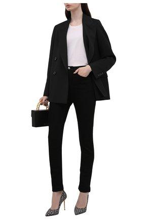 Женские текстильные туфли BALMAIN черно-белого цвета, арт. WN1UA517/TJMA   Фото 2