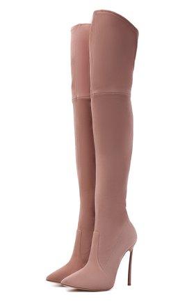 Женские замшевые ботфорты blade CASADEI розового цвета, арт. 1T000D125HHCAM03401   Фото 1