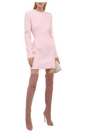 Женские замшевые ботфорты blade CASADEI розового цвета, арт. 1T000D125HHCAM03401   Фото 2