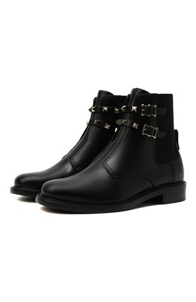 Женские кожаные ботинки rockstud VALENTINO черного цвета, арт. WW2S0Y48/VXS | Фото 1 (Каблук высота: Низкий; Материал внутренний: Натуральная кожа; Подошва: Плоская; Женское Кросс-КТ: Челси-ботинки)