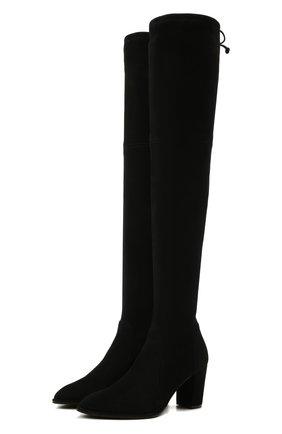 Женские замшевые ботфорты lasandra STUART WEITZMAN черного цвета, арт. S0109 | Фото 1