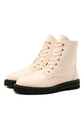 Женские кожаные ботинки mila STUART WEITZMAN бежевого цвета, арт. S0409 | Фото 1