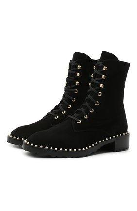 Женские замшевые ботинки allie STUART WEITZMAN черного цвета, арт. S3985 | Фото 1