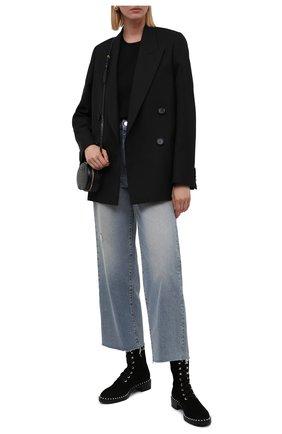 Женские замшевые ботинки allie STUART WEITZMAN черного цвета, арт. S3985 | Фото 2