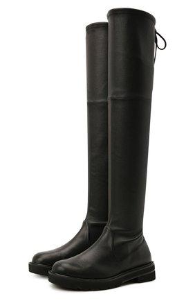 Женские кожаные ботфорты lowland STUART WEITZMAN черного цвета, арт. S5606 | Фото 1