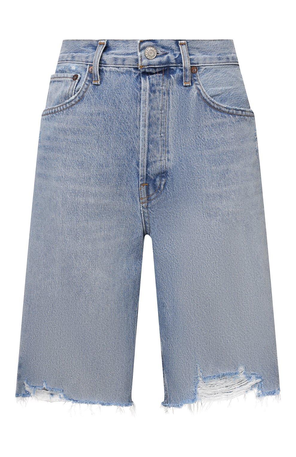 Женские джинсовые шорты AGOLDE голубого цвета, арт. A9020-811   Фото 1 (Женское Кросс-КТ: Шорты-одежда; Кросс-КТ: Деним; Длина Ж (юбки, платья, шорты): Мини; Материал внешний: Хлопок; Стили: Спорт-шик)