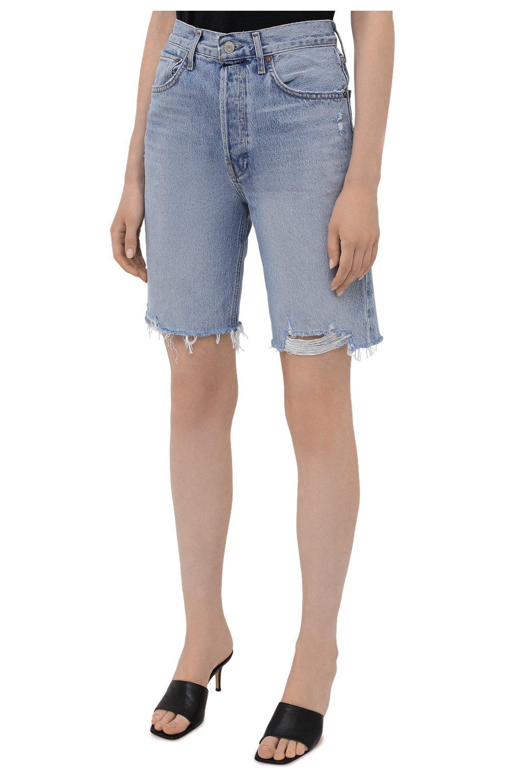 Женские джинсовые шорты AGOLDE голубого цвета, арт. A9020-811   Фото 3 (Женское Кросс-КТ: Шорты-одежда; Кросс-КТ: Деним; Длина Ж (юбки, платья, шорты): Мини; Материал внешний: Хлопок; Стили: Спорт-шик)