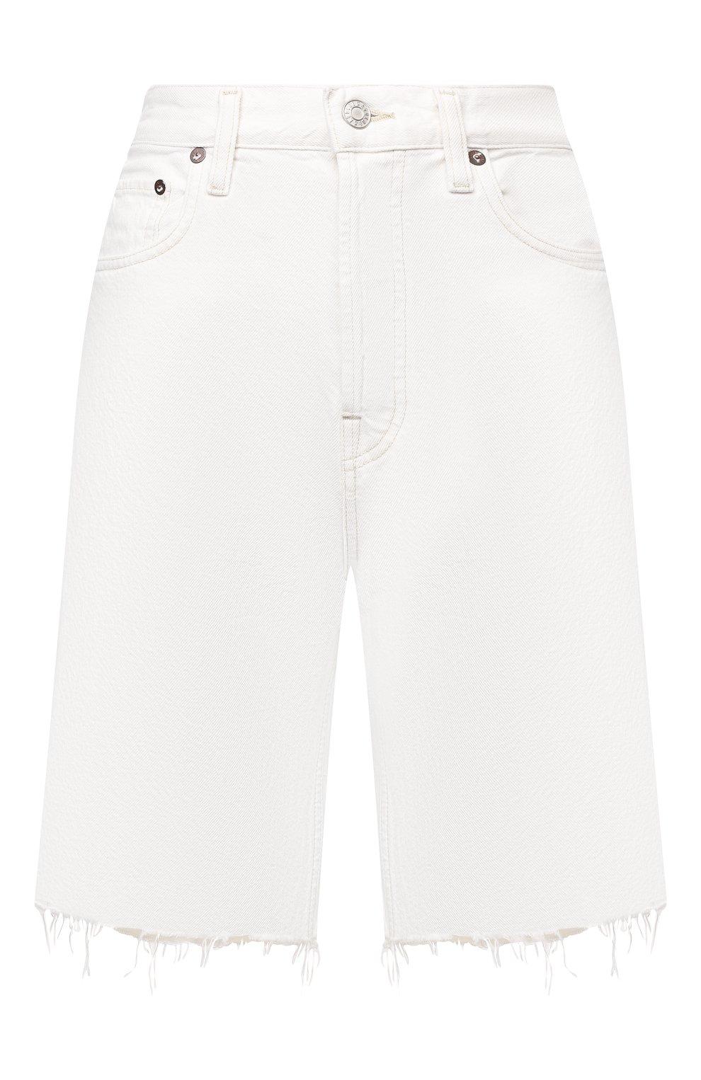Женские джинсовые шорты AGOLDE белого цвета, арт. A9011-1183 | Фото 1 (Женское Кросс-КТ: Шорты-одежда; Кросс-КТ: Деним; Длина Ж (юбки, платья, шорты): Мини; Материал внешний: Хлопок; Стили: Спорт-шик)