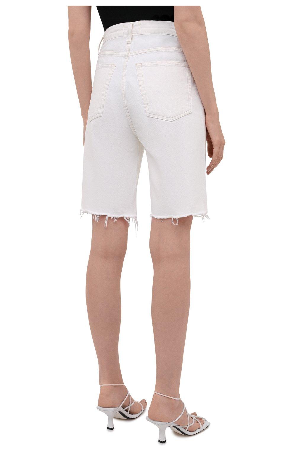 Женские джинсовые шорты AGOLDE белого цвета, арт. A9011-1183 | Фото 4 (Женское Кросс-КТ: Шорты-одежда; Кросс-КТ: Деним; Длина Ж (юбки, платья, шорты): Мини; Материал внешний: Хлопок; Стили: Спорт-шик)