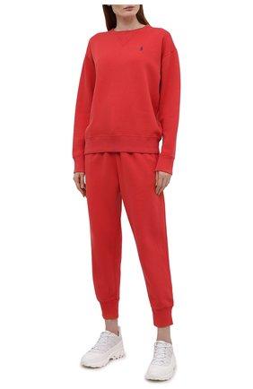 Женские хлопковые джоггеры POLO RALPH LAUREN красного цвета, арт. 211794397 | Фото 2