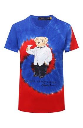 Женская хлопковая футболка POLO RALPH LAUREN синего цвета, арт. 211843249 | Фото 1