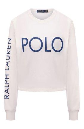 Женская хлопковый лонгслив POLO RALPH LAUREN белого цвета, арт. 211843282 | Фото 1