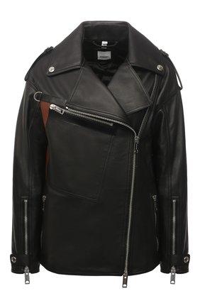 Женская кожаная куртка BURBERRY черного цвета, арт. 8038999 | Фото 1