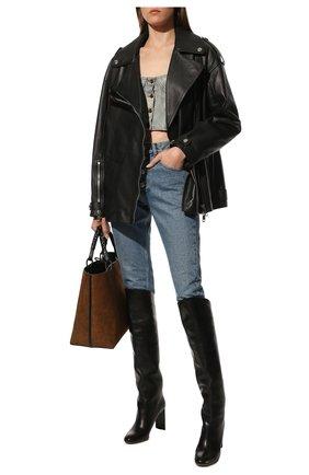 Женская кожаная куртка BURBERRY черного цвета, арт. 8038999 | Фото 2