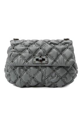 Женская сумка spikeme medium VALENTINO серого цвета, арт. WW2B0H78/EFZ | Фото 1 (Ремень/цепочка: На ремешке; Размер: medium; Материал: Натуральная кожа; Сумки-технические: Сумки через плечо)