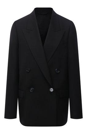 Женский жакет ACNE STUDIOS черного цвета, арт. AH0175   Фото 1 (Материал внешний: Шерсть, Синтетический материал; Рукава: Длинные; Длина (для топов): Удлиненные; Материал подклада: Вискоза; Стили: Спорт-шик; Случай: Формальный; Женское Кросс-КТ: Жакет-одежда; 1-2-бортные: Двубортные)