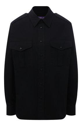 Женская хлопковая рубашка RALPH LAUREN черного цвета, арт. 290850854 | Фото 1 (Длина (для топов): Стандартные; Рукава: Длинные; Материал внешний: Хлопок; Стили: Спорт-шик; Принт: Без принта; Женское Кросс-КТ: Рубашка-одежда)