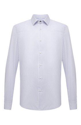 Мужская хлопковая сорочка BOSS голубого цвета, арт. 50449840 | Фото 1 (Материал внешний: Хлопок; Длина (для топов): Стандартные; Рукава: Длинные; Стили: Классический; Случай: Формальный; Рубашки М: Regular Fit; Воротник: Кент; Манжеты: На пуговицах; Принт: Полоска)