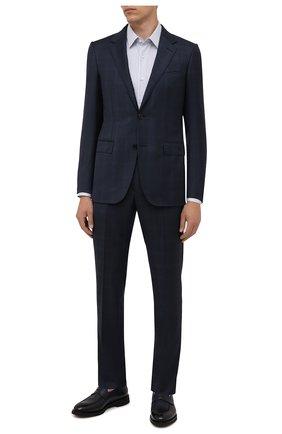 Мужская хлопковая сорочка BOSS голубого цвета, арт. 50449840 | Фото 2 (Материал внешний: Хлопок; Длина (для топов): Стандартные; Рукава: Длинные; Стили: Классический; Случай: Формальный; Рубашки М: Regular Fit; Воротник: Кент; Манжеты: На пуговицах; Принт: Полоска)
