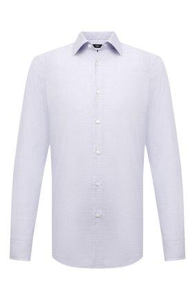 Мужская хлопковая сорочка BOSS голубого цвета, арт. 50453983 | Фото 1 (Рукава: Длинные; Длина (для топов): Стандартные; Материал внешний: Хлопок; Случай: Формальный; Стили: Классический; Принт: Клетка; Рубашки М: Regular Fit; Воротник: Кент; Манжеты: На пуговицах)