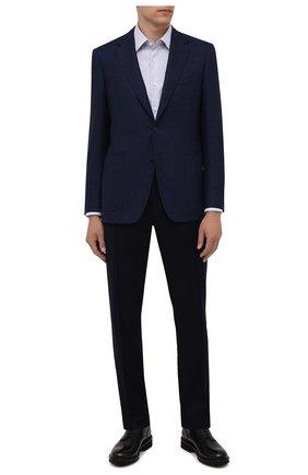 Мужская хлопковая сорочка BOSS голубого цвета, арт. 50453983 | Фото 2 (Рукава: Длинные; Длина (для топов): Стандартные; Материал внешний: Хлопок; Случай: Формальный; Стили: Классический; Принт: Клетка; Рубашки М: Regular Fit; Воротник: Кент; Манжеты: На пуговицах)