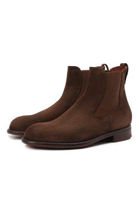 Мужские замшевые челси LORO PIANA коричневого цвета, арт. FAL3393 | Фото 1 (Материал внутренний: Натуральная кожа; Мужское Кросс-КТ: Сапоги-обувь, Челси-обувь; Материал внешний: Замша; Подошва: Плоская)