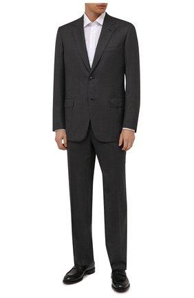 Мужской шерстяной костюм BRIONI темно-серого цвета, арт. RAH04K/01A4B/PARLAMENT0   Фото 1 (Рукава: Длинные; Материал внешний: Шерсть; Материал подклада: Купро; Костюмы М: Однобортный; Стили: Классический)